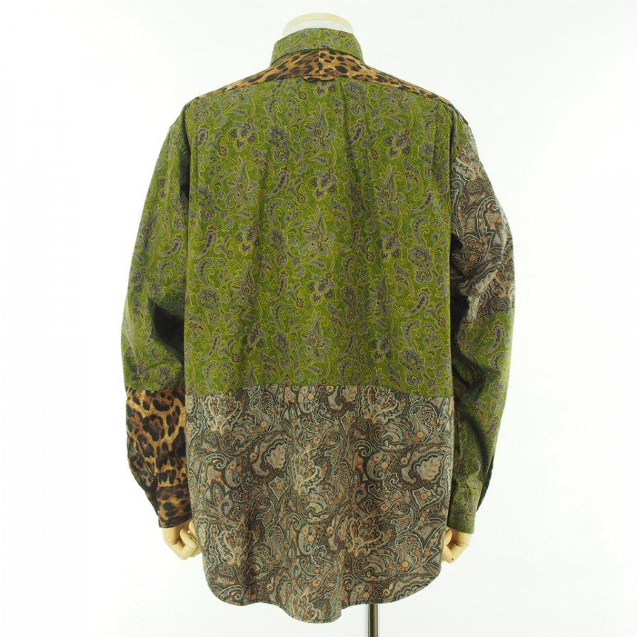 Engineered Garments エンジニアドガーメンツ - Combo Short Collar Shirt - Cotton Paisley - Olive/Purple