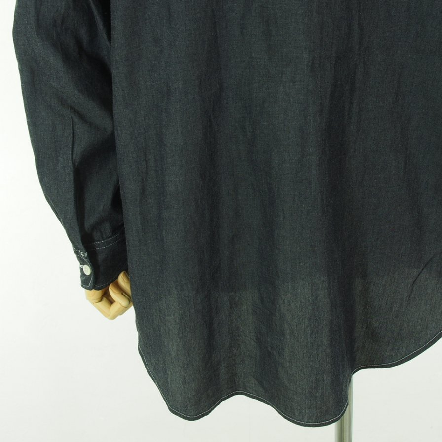 Engineered Garments エンジニアドガーメンツ - Banded Collar Shirt バンデッドカラーシャツ - Twill Shirting - Indigo Denim