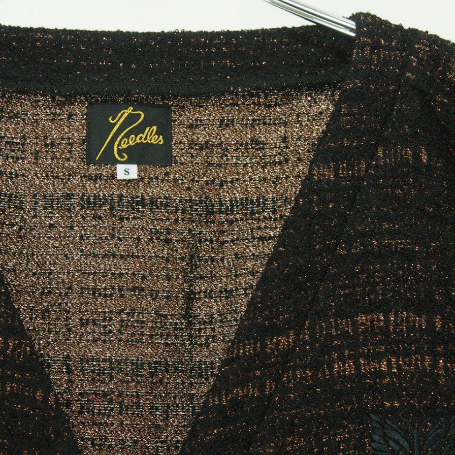 Needles ニードルズ - V Neck Cardigan ブイネックカーディガン - W/N/R/Pe Lame Cloth Jq. - Bronze