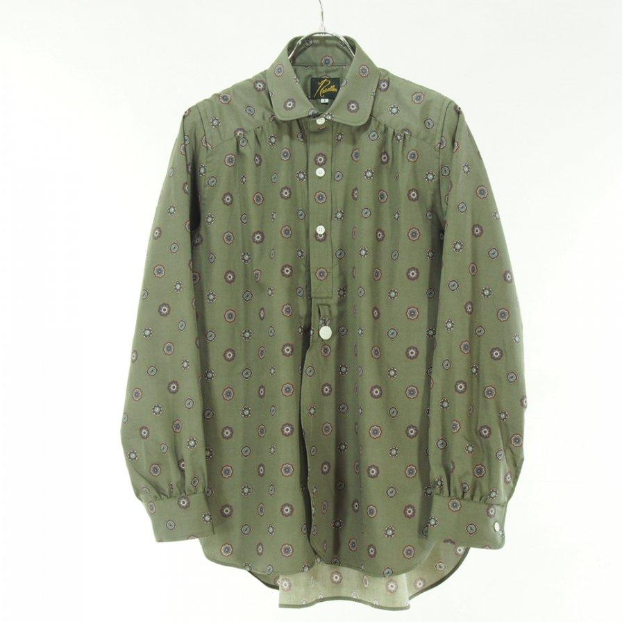 Needles Woman ニードルズウォメン - Round Collar EDW Shirt ラウンドカラーエドワードシャツ - Cotton Sateen / Pt - Fine Pattern