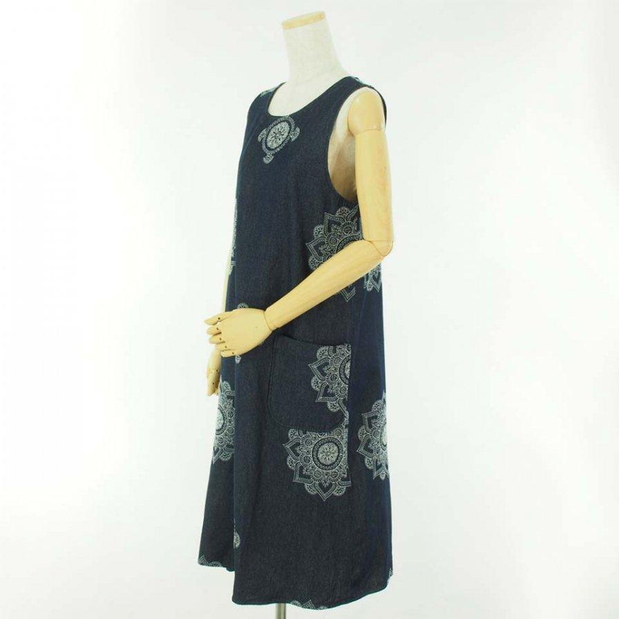 Engineered Garments Woman エンジニアドガーメンツウォメン - Wrap Dress - Floral Crest Embroidery Denim - Indigo