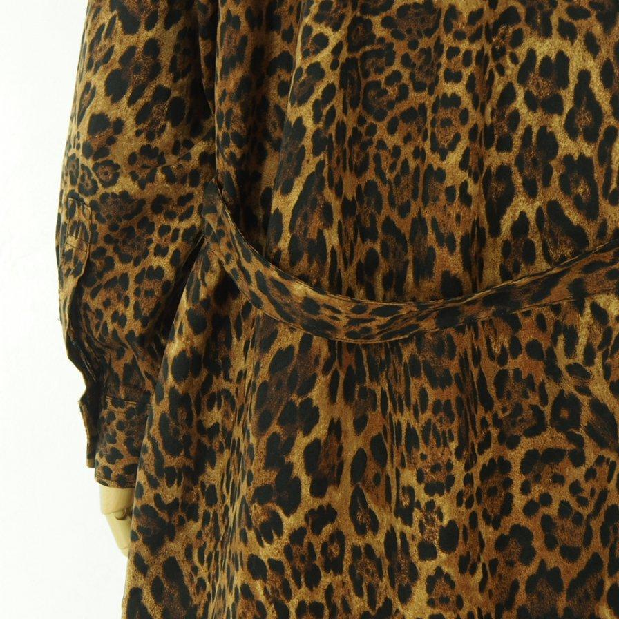 Engineered Garments Woman エンジニアドガーメンツウォメン - Banded Collar Dress - Cotton Leopard Print - Brown