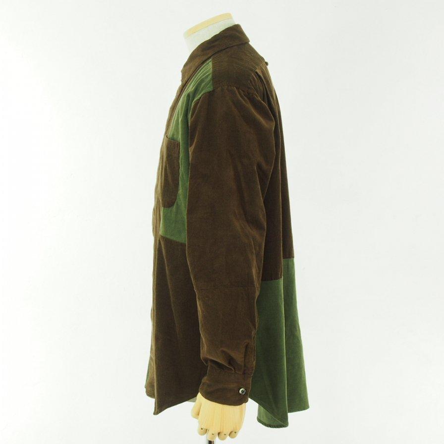 Engineered Garments エンジニアドガーメンツ - Combo Short Collar Shirt -  Cotton 21W Corduroy - Brown