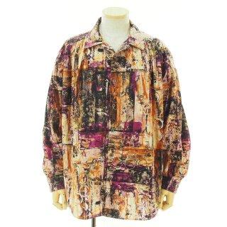 AiE エーアイイー - Painter Shirt ペインターシャツ - Cotton Abstract print - Purple/Brown