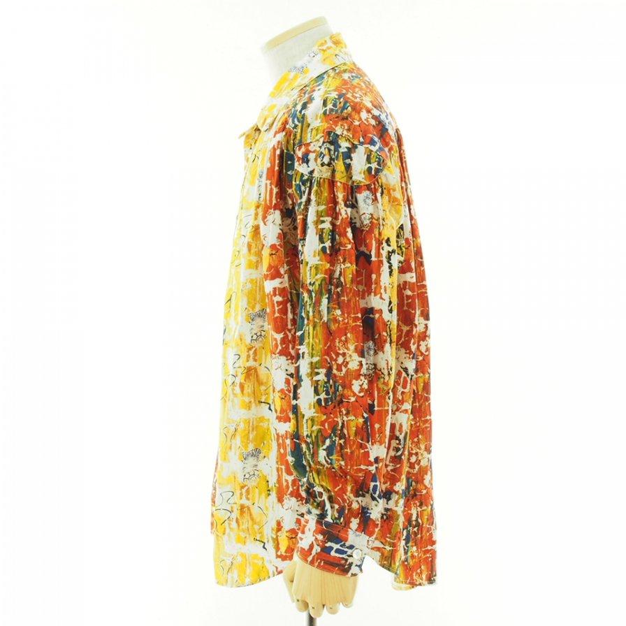 AiE エーアイイー - Painter Shirt ペインターシャツ - Cotton Abstract print - Yellow/Orange
