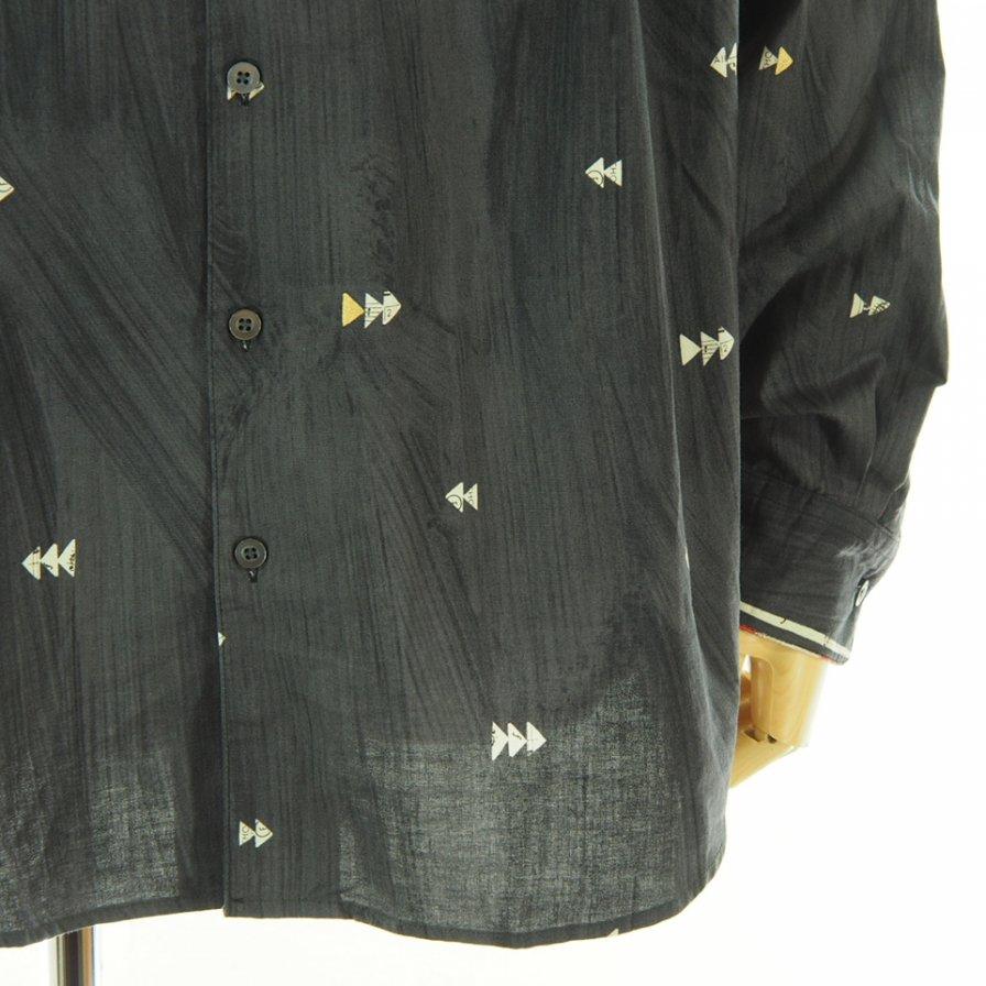 AiE エーアイイー - Painter Shirt ペインターシャツ - Cotton Abstract Stripe - Black