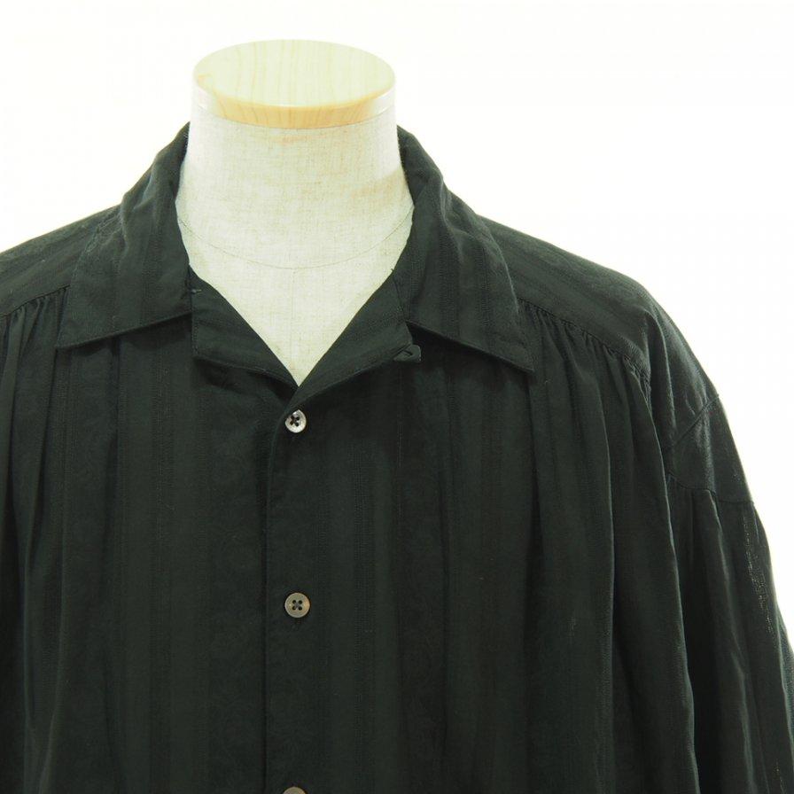 AiE エーアイイー - Painter Shirt ペインターシャツ - Cotton Floral Stripe Damask - Black
