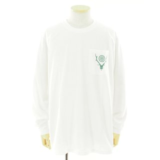South2 West8 サウスツーウエストエイト - L/S Round Pocket Tee - Circle Horn - White