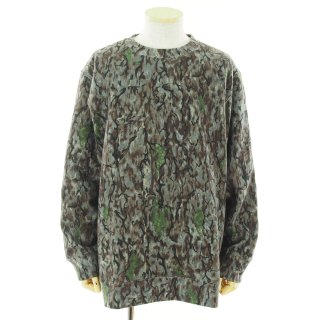 South2 West8 サウスツーウエストエイト - Crew Neck Sweat Shirt - Cotton Jersey / Horn Camo Pt. - Grey