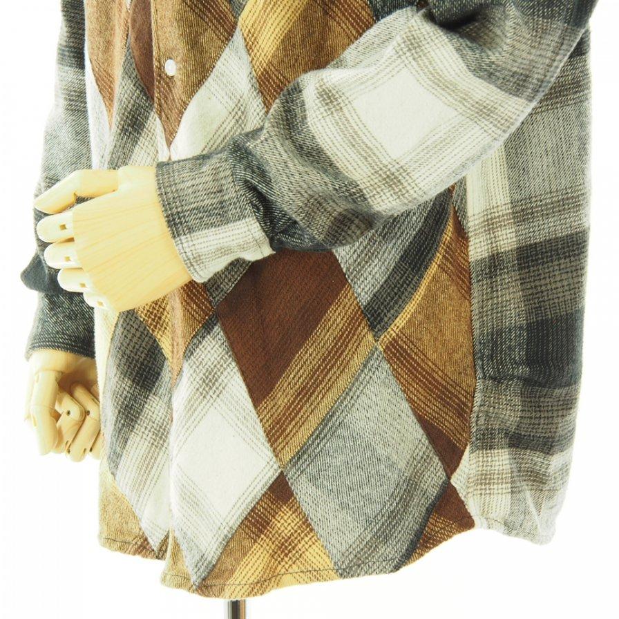 NOMA t.d. ノーマティーディー - N Ombre Plaid Diamond Shirt エヌオンブレプレイドダイヤモンドシャツ - Black / Off