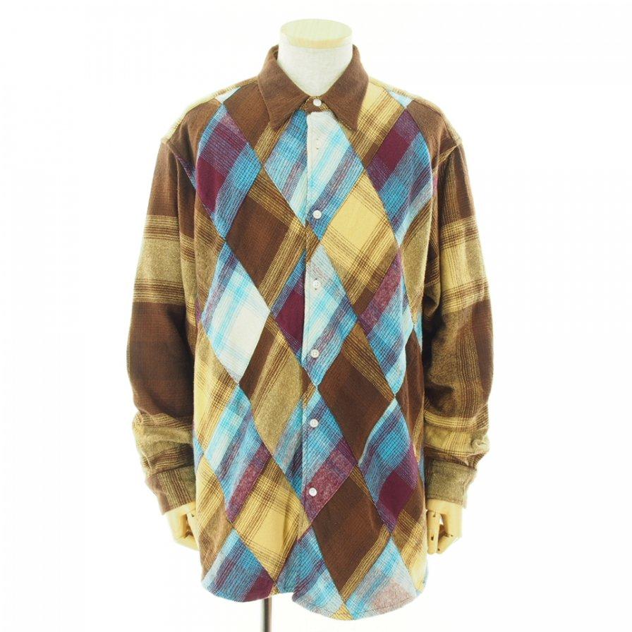 NOMA t.d. ノーマティーディー - N Ombre Plaid Diamond Shirt エヌオンブレプレイドダイヤモンドシャツ - Brown / Beige