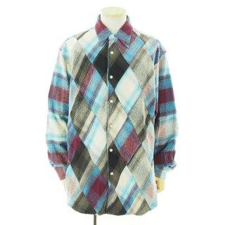 NOMA t.d. ノーマティーディー - N Ombre Plaid Diamond Shirt エヌオンブレプレイドダイヤモンドシャツ - Burgundy / Lt.Blue