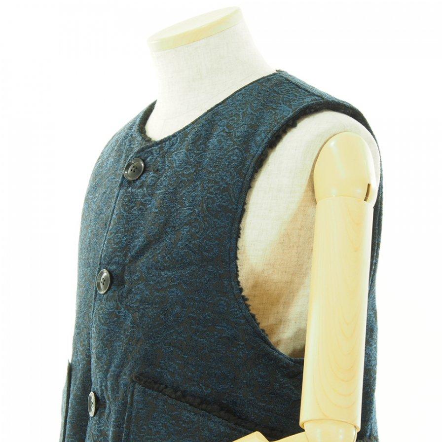 Engineered Garments エンジニアドガーメンツ - Over Vest オーバーベスト - Polyester Paisley Jacquard - Navy / Black