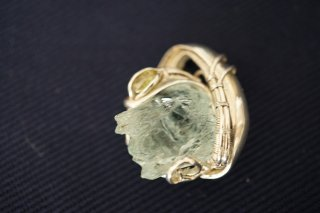 ワイヤーアート アクアマリン silver925 goldfill 14K