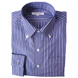 140/2 STRIPE BROAD B.D. COLLAR SHIRT NVY
