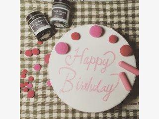 チョークボードペイント アーモンドジェリーを使って<br>ケーキみたいな可愛いハンドメイドプレゼントBOXを作った事例