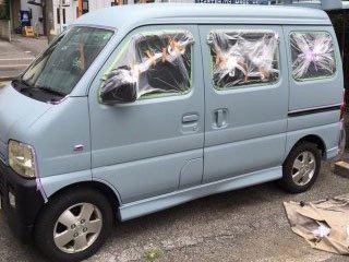 スズキ エブリイワゴンを世田谷ベースカラーで刷毛塗り全塗装!