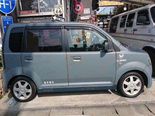三菱 eKワゴンをイーグルブルーグレーとレインブーツネイビーで2トーンで刷毛塗り全塗装!