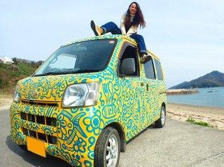 ダイハツ ハイゼットカーゴをカスタムカラー イエローとグリーンで刷毛塗全塗装!