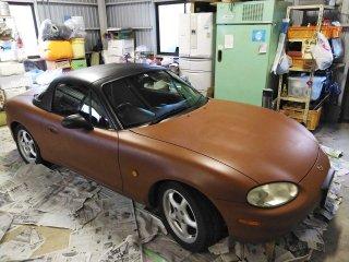 マツダ ロードスターをラストカラーで刷毛塗り全塗装した事例