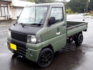 三菱 ミニキャブトラックをカスタムカラー マットミリタリーグリーンで刷毛塗り全塗装!