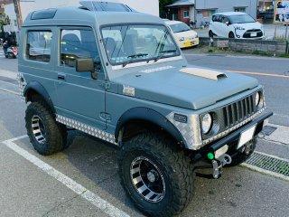 スズキ ジムニーJA11V パノラミックルーフをイーグルブルーグレーで刷毛塗り全塗装