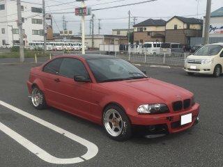 BMW E46クーペ 318Ciをドライドプラムレッドで刷毛塗り全塗装!