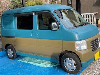 ホンダ ホビオをカスタムカラー 日本の伝統色 納戸色(DIC N-885)で刷毛塗り全塗装!