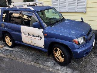 三菱 パジェロイオをカスタムカラー ディープブルーで刷毛塗り全塗装!