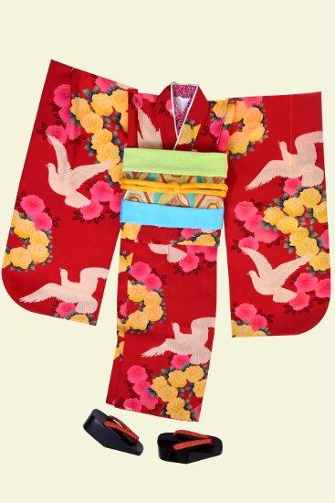 七五三 アンティーク着物レンタル 七歳【赤鳩と薔薇】
