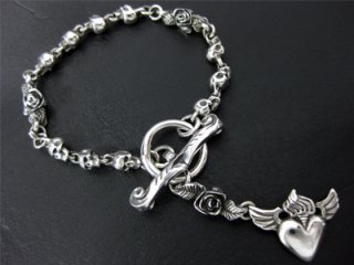 【CP-884f】【CRAZY PIG】 Rosary Skull Bracelet / T-bar & Heart