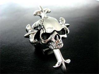 【TRANSCORE】 Heavy Cross in Skull Ring