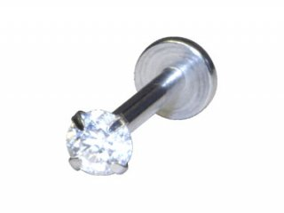 【SIT04】Steel Internally Threaded Jewelled Labret Round