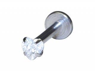 【SIT01】Steel Internally Threaded Jewelled Labret Heart