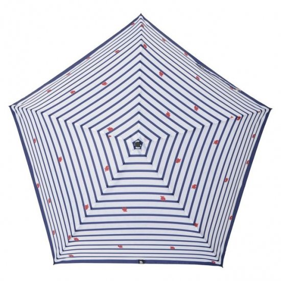 moz×mabu 耐風骨UVカット折り畳み傘 ボーダー