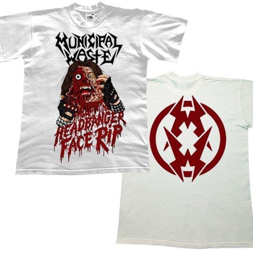Municipal Waste / ミュニシパル・ウェイスト - Headbanger Face Rip (White). Tシャツ【お取寄せ】