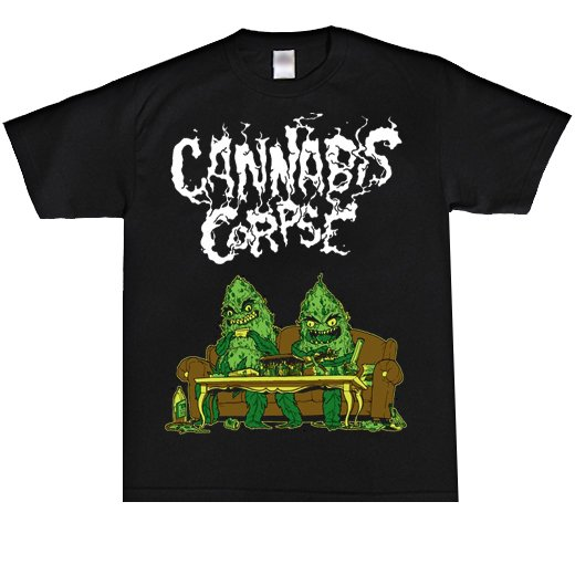 <img class='new_mark_img1' src='https://img.shop-pro.jp/img/new/icons1.gif' style='border:none;display:inline;margin:0px;padding:0px;width:auto;' />Cannabis Corpse / カンナビス・コープズ - Couch Dudes. Tシャツ【お取寄せ】