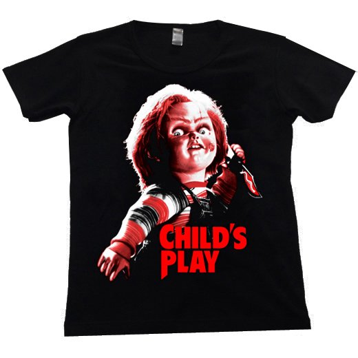 <img class='new_mark_img1' src='https://img.shop-pro.jp/img/new/icons1.gif' style='border:none;display:inline;margin:0px;padding:0px;width:auto;' />Child's Play / チャイルド・プレイ - Chucky. レディースTシャツ【お取寄せ】
