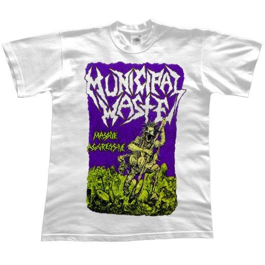 Municipal Waste / ミュニシパル・ウェイスト - Massive Aggressive (White). Tシャツ【お取寄せ】