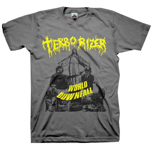 Terrorizer / テロライザー - World Downfall (Charcoal). Tシャツ【お取寄せ】