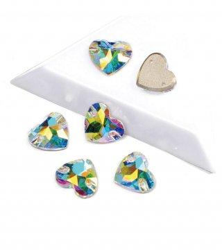 【ハート形 ガラスストーン】縫い付けビジュー ソーオン レオタード コスチューム 三角ストーン
