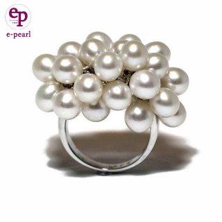 淡水パールライス5-6mm じゃらじゃらボリューム シルバーリング  真珠カジュアル  指輪 ボリューム  在庫限り 送料無料 ケース付