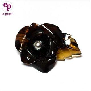 タヒチ黒蝶真珠10mm+本べっ甲 フラワー型ブローチ ケース付 送料無料