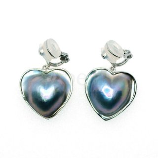 ハートシェイプ heart マベパール クリップ式ぶら下がり SVイヤリング 大人の可愛さ キュート ゆれる 色彩豊かなマベ真珠 送料無料 ケース付 ラッピング無料