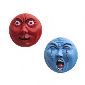 横尾忠則 アート立体バッジ 泣き笑い人生 2個セット レッド/ブルー
