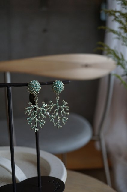 Coral Earrings/Pieces(イヤリング/ピアス)[OR1072 OTTURK】ターコイズグリーン