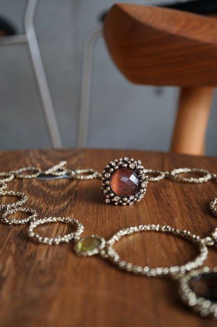 Diamond Ring (ダイヤモンドリング)[AN909 BZBR Bronze RedTigereye/Black mother of pearl/Crystal】Freesize