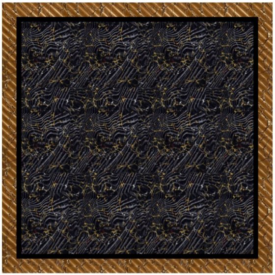 ウール大判ストール 正方形 Black/Gold 限定1点物