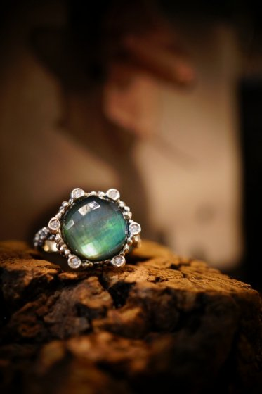 Diamond small Ring AN913 AGBR GreenAgate/Mother of Pearl/Crystal オーダー商品