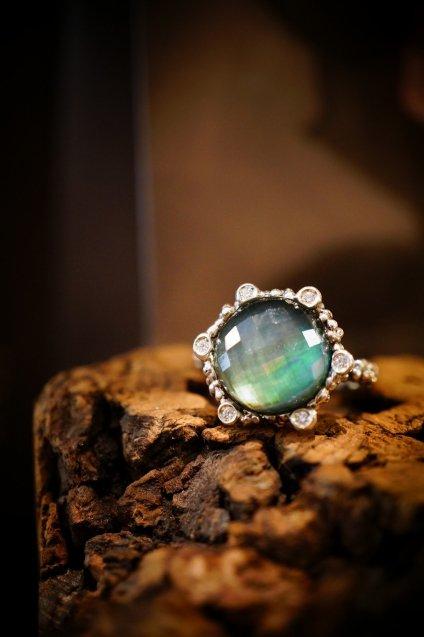 Diamond small Ring AN913 AGBR GreenAgate/Mother of Pearl/Crystal オーダー商品